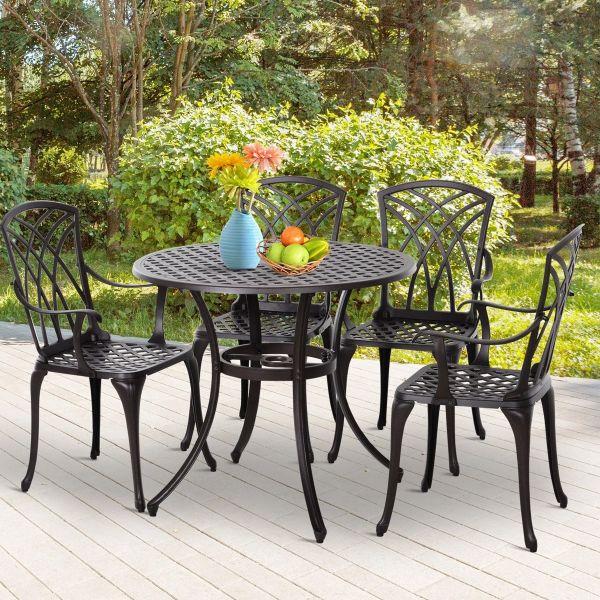 Outsunny Cast Aluminium 4-Seater Outdoor Garden Table & Chair Set - Brown