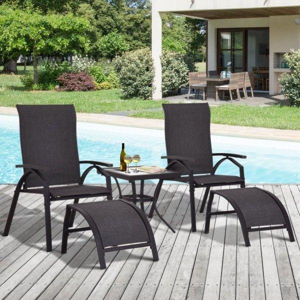 Outsunny 5PC Garden Sun Lounger Chair & Stool Set - Black