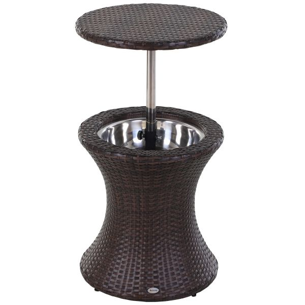 Outsunny Rattan Ice Bucket with Table - Brown