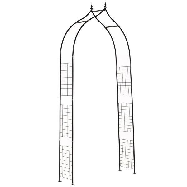 Outsunny Steel Frame Backyard Metal Pergola for Plants & Trellis Garden Arch - Black