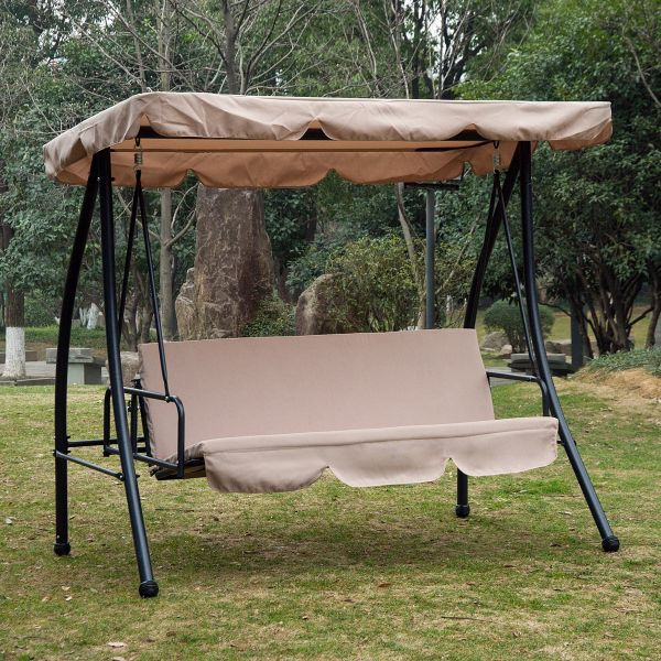 Outsunny 3-Seater Swing Chair - Beige