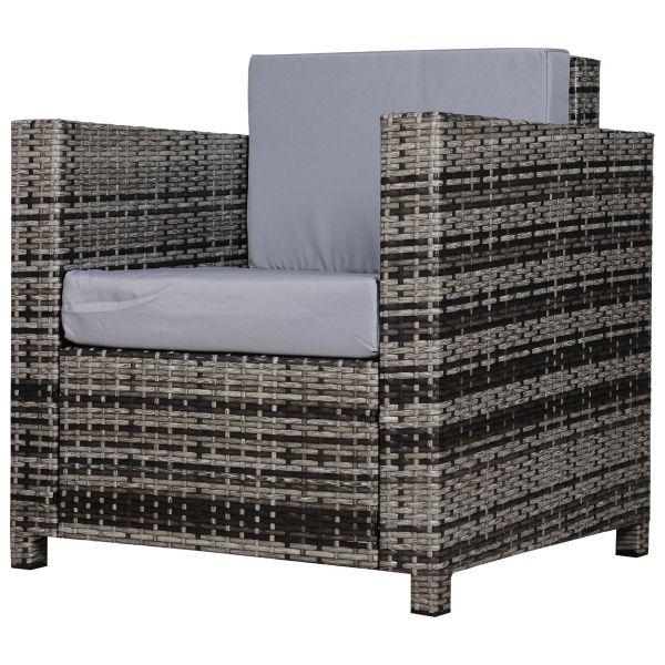 Outsunny Rattan Outdoor Garden Single Sofa Armchair - Grey
