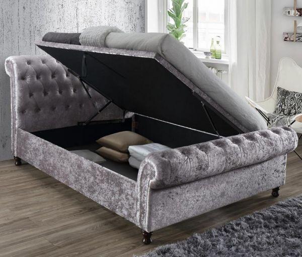 Birlea Castello Steel Crushed Velvet Side Ottoman Storage Bed
