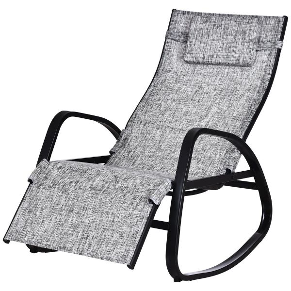 Outsunny Metal Frame Zero Gravity Rocking Patio Chair with Pillow - Grey