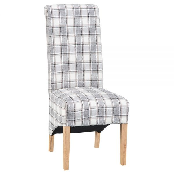 Pair of 2 Modern Scroll Back Dining Chair - Cappuccino
