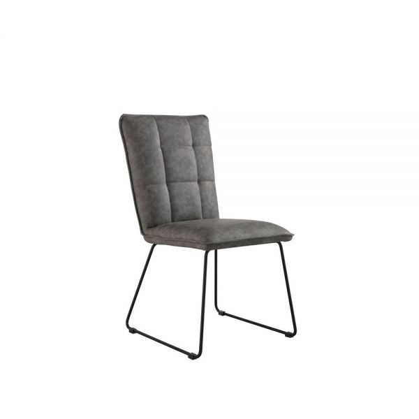 Pair of 2 Panel Back Chair with Angled Legs - Grey