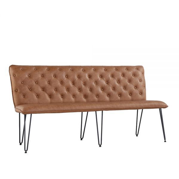 Modern Studded Back Large Bench - Tan