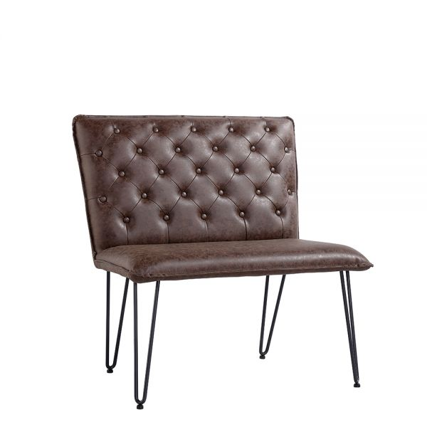 Modern Small Studded Back Bench - Brown
