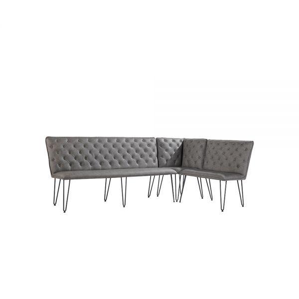Modern Studded Back Corner Bench - Grey