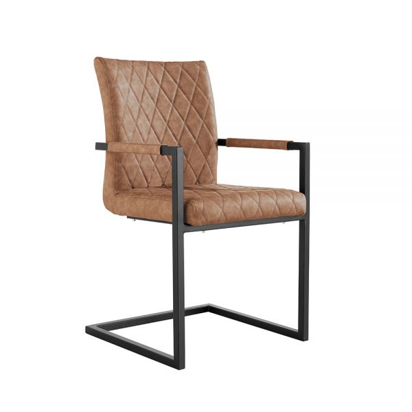 Pair of 2 Diamond Stitch Carver Dining Chair - Tan