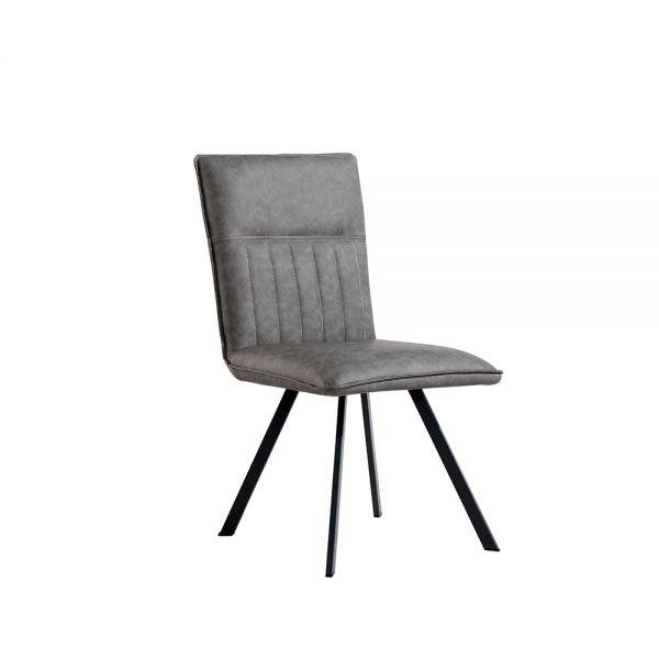 Pair of 2 Modern Metal Dining Chair - Grey