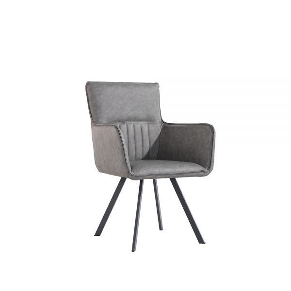 Pair of 2 Modern Carver Dining Chair - Grey