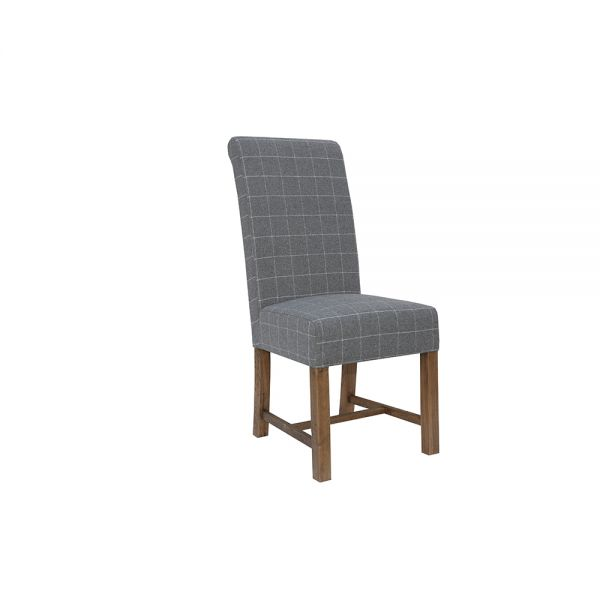 Pair of 2 Modern Woolen Upholstered Dining Chair - Grey