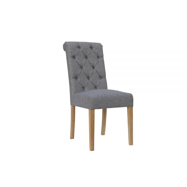 Pair of 2 Button Back Dining Chair with Scroll Top - Light Grey