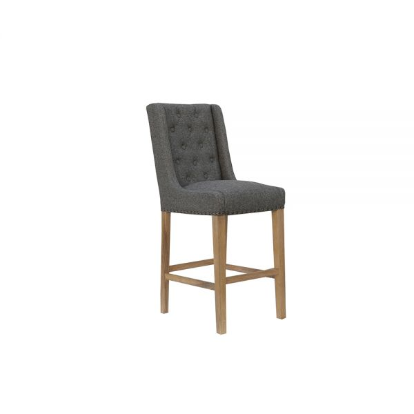 Pair of 2 Button Back Stool with Studs - Dark Grey