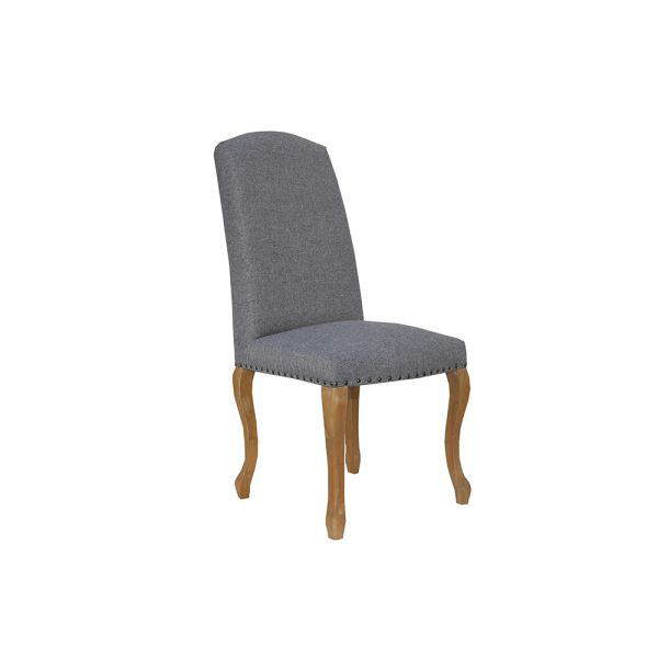 Pair of 2 Luxury Chair with Studs and Carved Oak Legs -  Light Grey