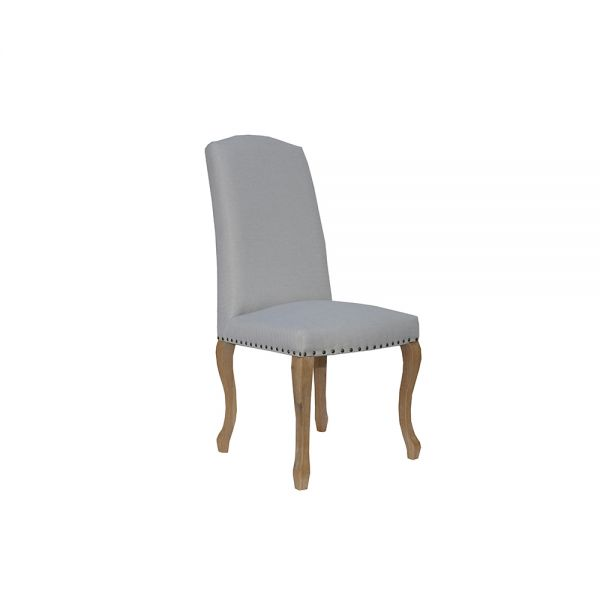 Pair of 2 Luxury Chair with Studs and Carved Oak Legs -  Natural