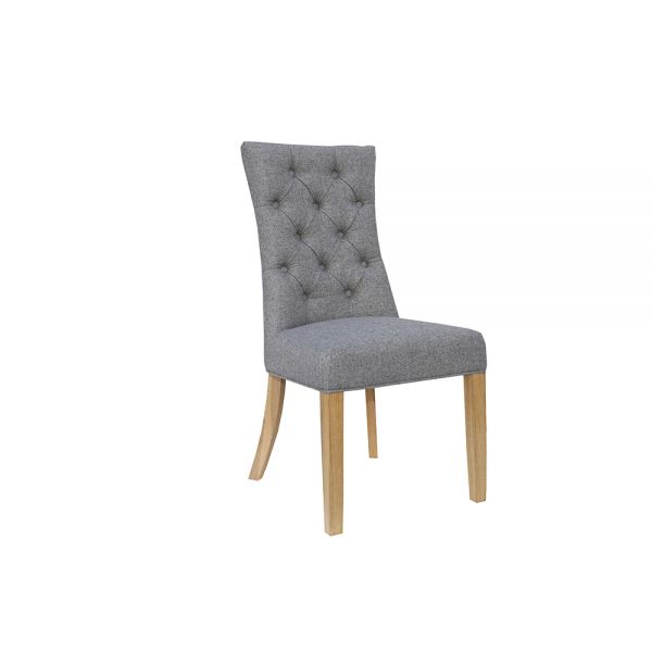 Pair of 2 Curved Button Back Dining Chair - Light Grey