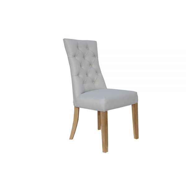 Pair of 2 Curved Button Back Dining Chair - Natural