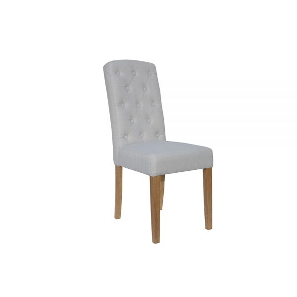Pair of 2 Button Back Upholstered Dining Chair - Natural