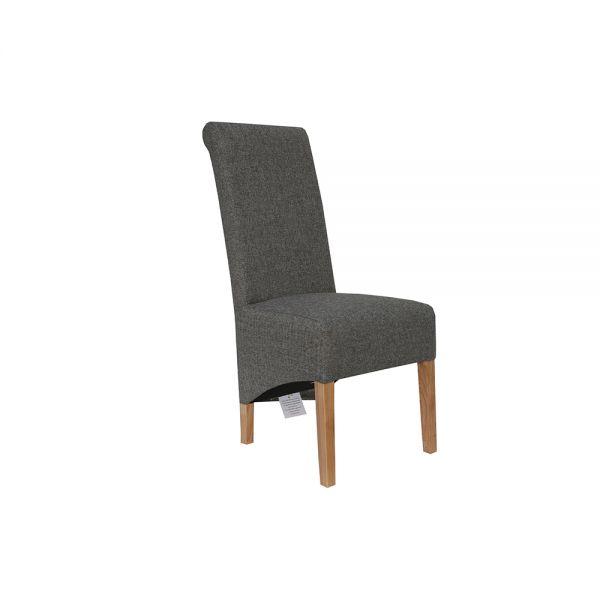 Pair of 2 Scroll Back Fabric Dining Chair - Dark Grey