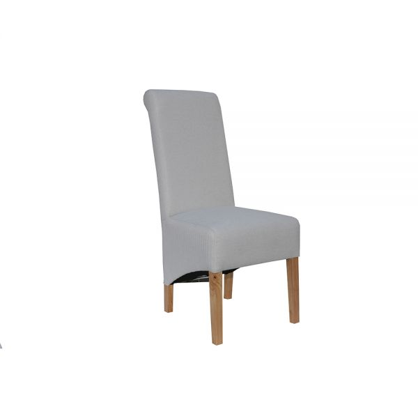 Pair of 2 Scroll Back Fabric Dining Chair - Natural