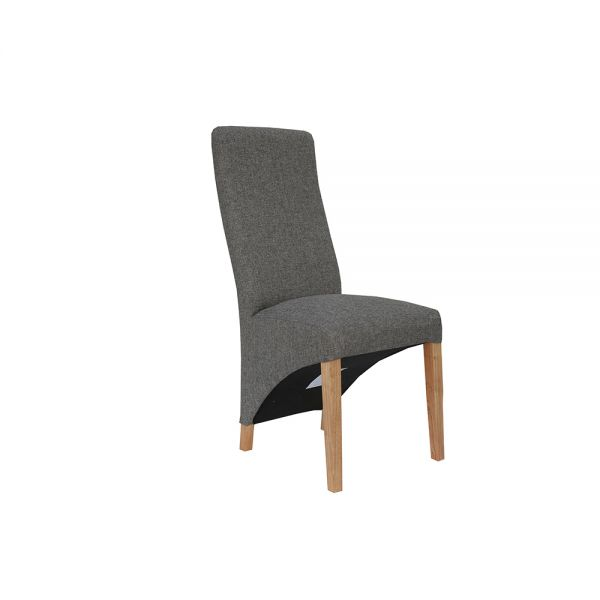 Pair of 2 Wave Back Fabric Dining Chair - Dark Grey
