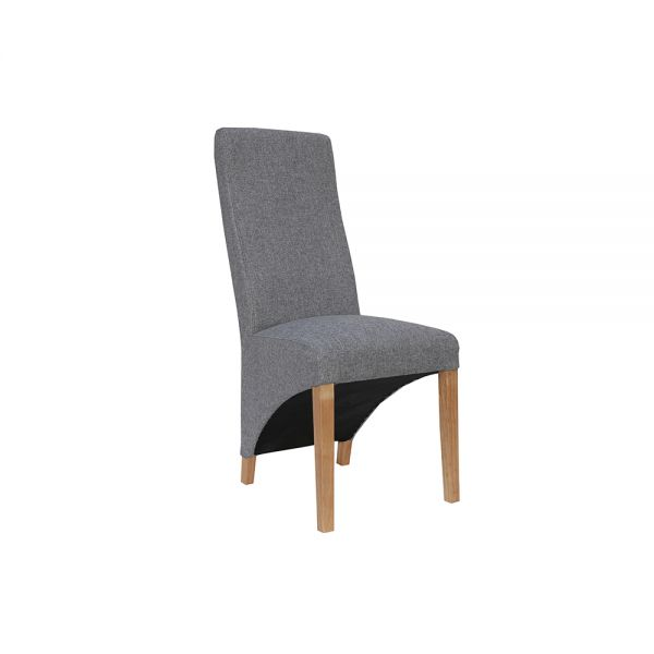 Pair of 2 Wave Back Fabric Dining Chair - Light Grey