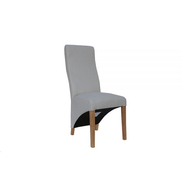 Pair of 2 Wave Back Fabric Dining Chair - Natural