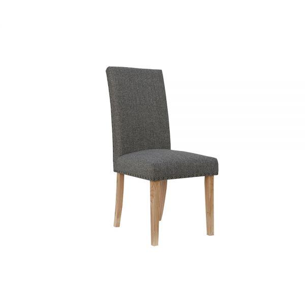 Pair of 2 Straight Back Fabric Dining Chair - Dark Grey
