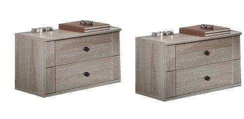 Chalet 2-Drawer Bedside Chest Pair x 2 - Oak