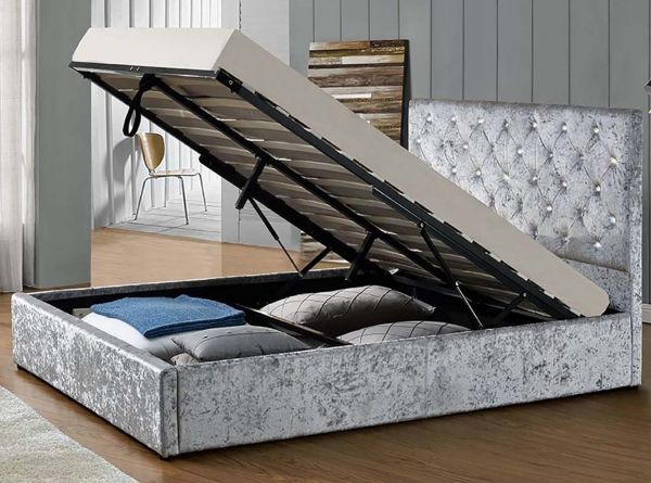 Chatsworth Silver Crushed Diamante Ottoman Bed - King