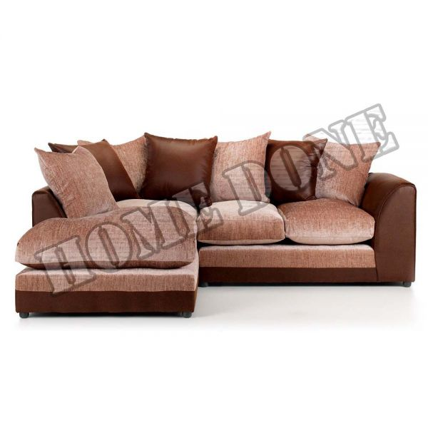 Aruba Brown and Beige Chenille Fabric Corner Sofa