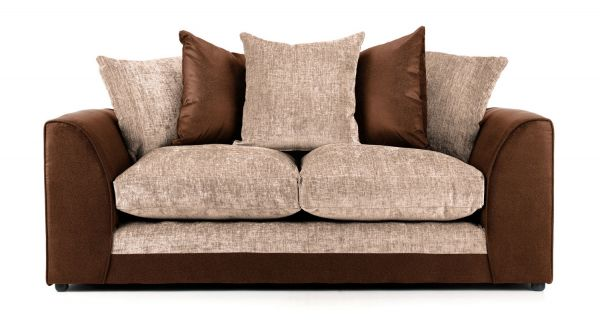 Aruba Brown and Beige Fabric 3 Seater Sofa