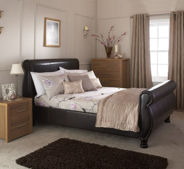 Chicago Brown Faux Leather Bed Frame - Double or King