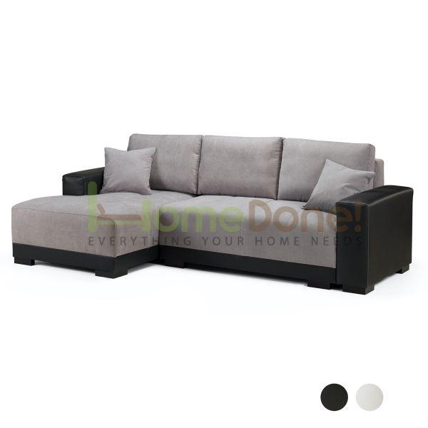 Cimian Fabric Corner Sofabed with Storage - Black/Grey