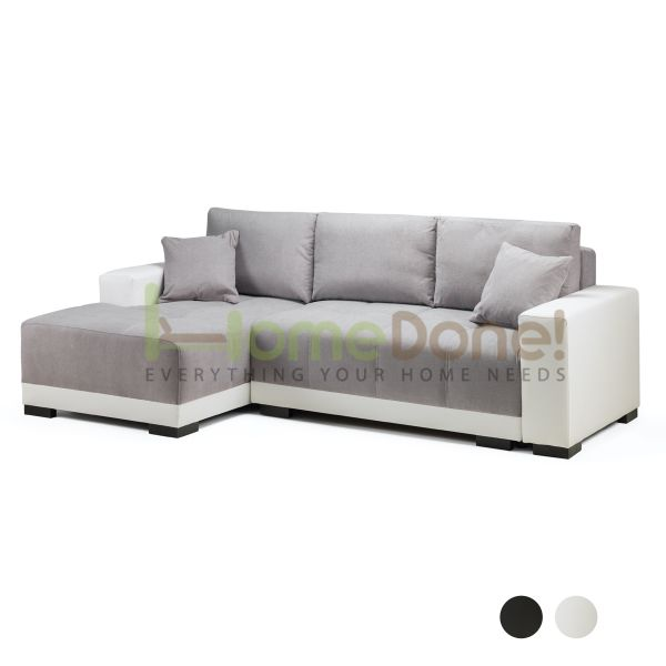 Cimian Fabric Corner Sofabed with Storage - White/Grey