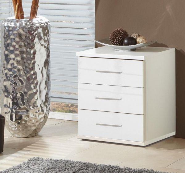 Clack 3-Drawer Gloss Bedside Chest - White