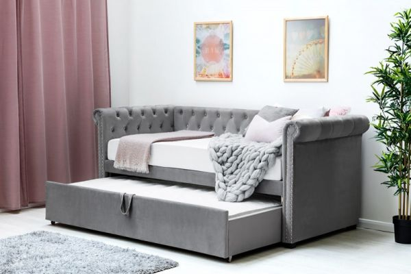 Clarendon Velvet Chesterfield Style Sofa Bed with Guest Bed Single Size - Grey