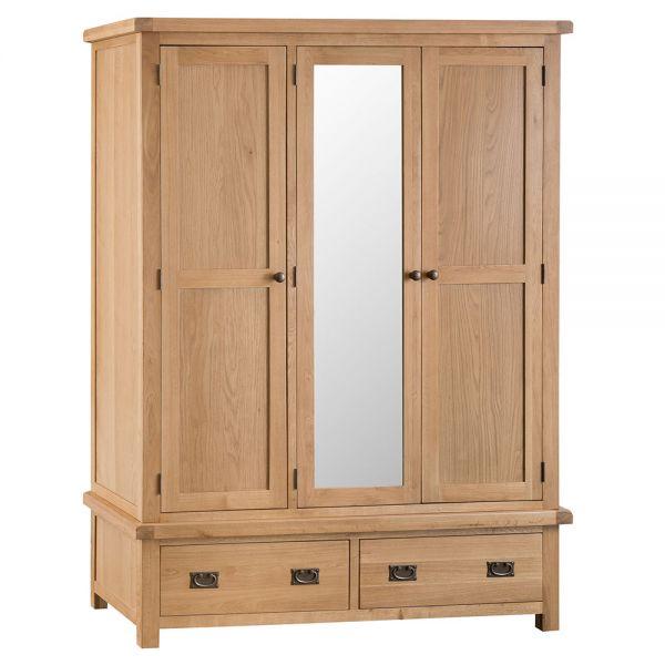 Classic 3 Door Wardrobe with Mirror - Medium Oak Finish