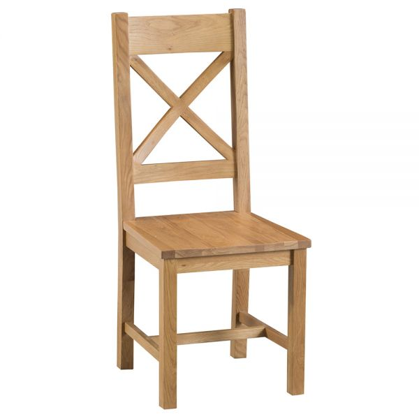 Classic Cross Back Wooden Dining Chair - Medium Oak Finish