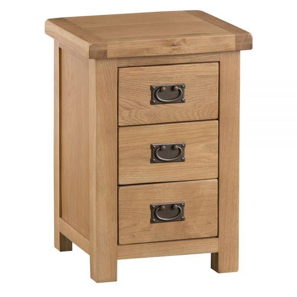 Classic Large 3 Drawer Bedside Cabinet  - Medium Oak Finish