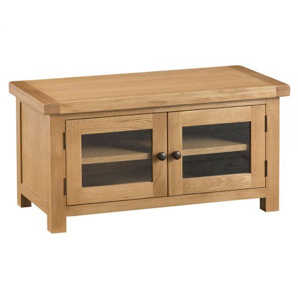 Classic Standard TV Unit with Glass Doors - Medium Oak Finish