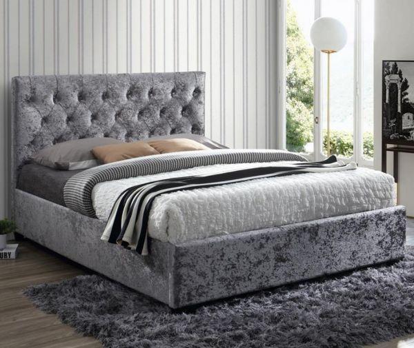 Birlea Cologne Steel Crushed Velvet Bed Frame