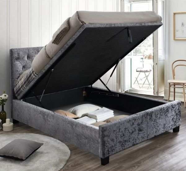Birlea Cologne Steel Crushed Velvet Ottoman Bed Frame
