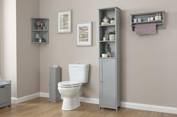 Colonial Tall Bathroom Storage Cupboard - Grey or White
