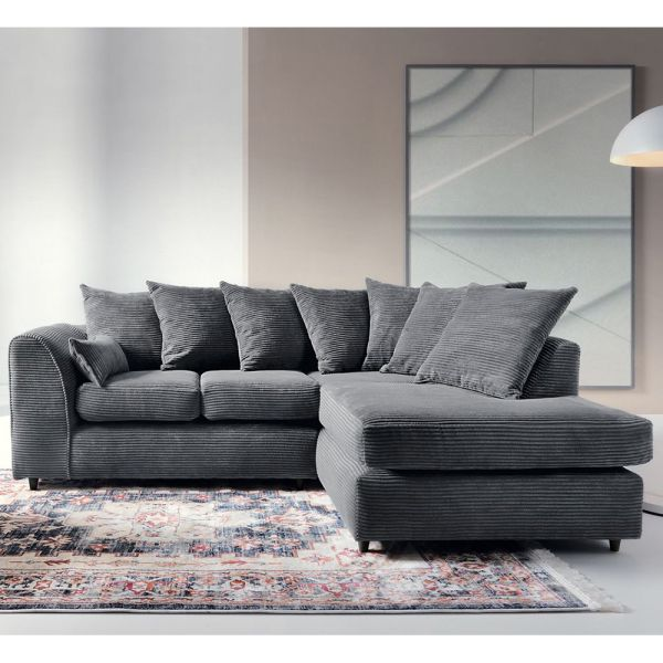 Jill Jumbo Corner Sofa - Blue, Brown, Grey