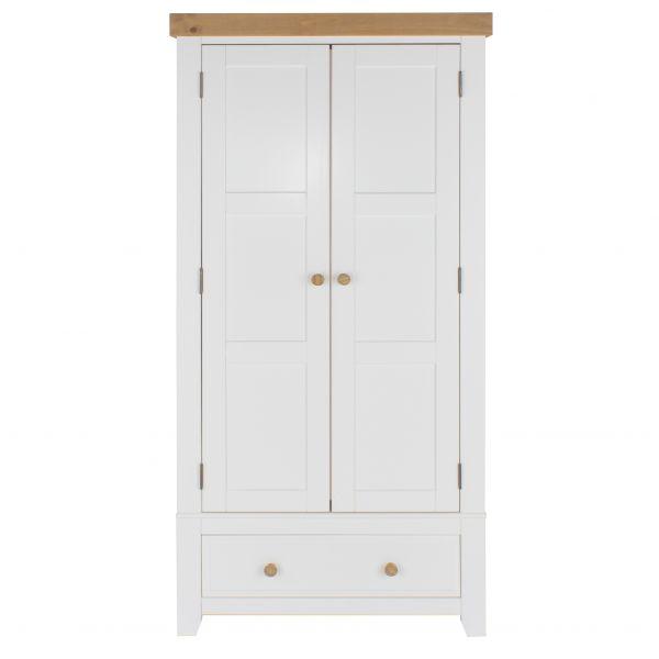Capri White Pine 2-Door 1-Drawer Wardrobe
