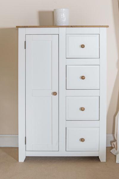 Capri White Pine 1-Door 4-Drawer Tallboy Storage Chest