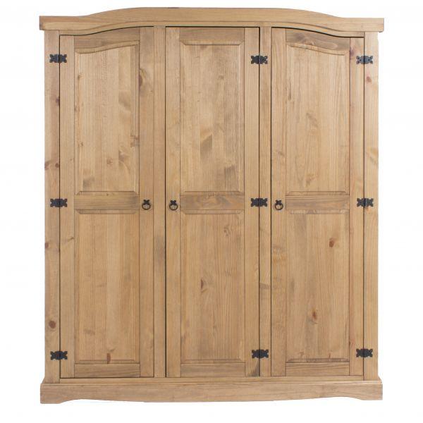 Corona 3-Door Rustic Pine Wardrobe